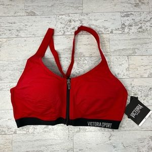 NWT Victoria's Secret Red Knockout Zip Sports Bra